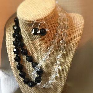 Handmade clear/black bead necklace & earrings